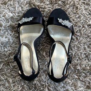 Black satin heels with crystal brooch sz 7